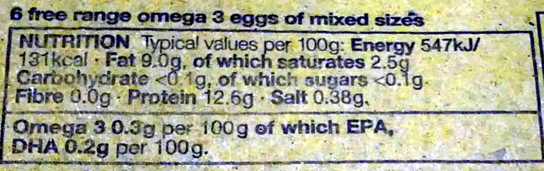 6 free range British mixed size eggs Omega 3 enriched - Nutrition facts