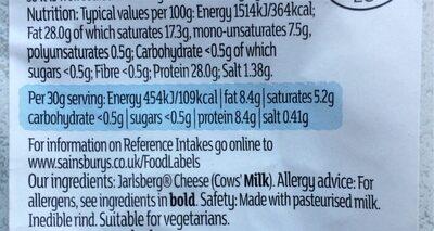 Norwegian jarlsber cheese - Informations nutritionnelles - en