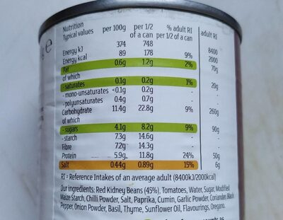Red Kidney Beans in chili sauce - Informations nutritionnelles
