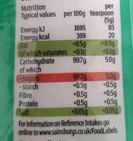 Fairtrade golden granulated cane sugar - Informations nutritionnelles - en
