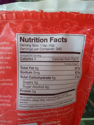 Monkfruit Sweetener - Nutrition facts