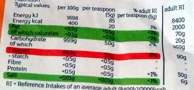 Fairtrade white caster sugar - Informations nutritionnelles - en