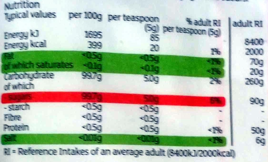 British Icing Sugar - Informations nutritionnelles - en
