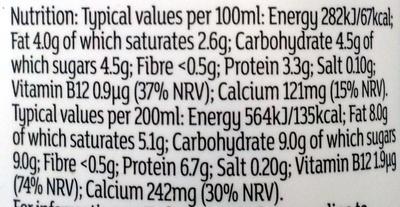 Fresh whole milk - Informations nutritionnelles