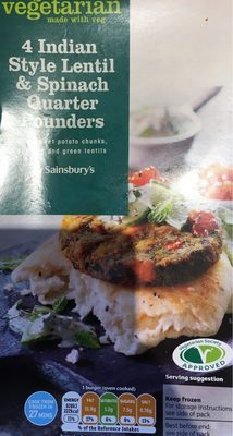 Indian style lentil and spinach quarter pounders - Product