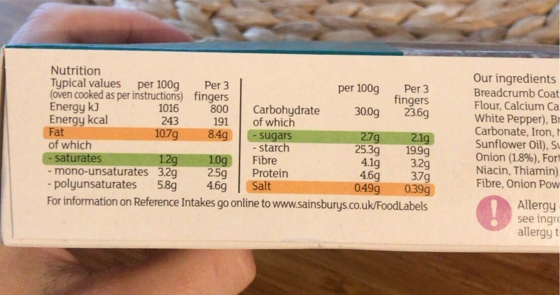 Vegetable fingers - Informação nutricional - en