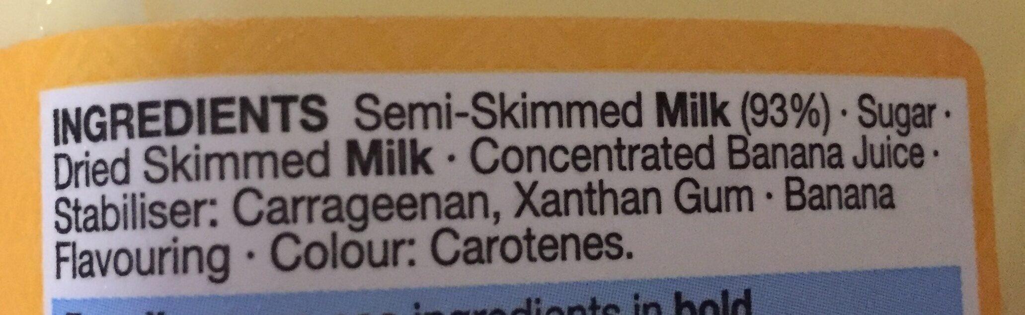 Banana flavoured milk - Ingredients