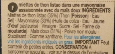 Tuna & Sweetcorn - Ingrédients - fr