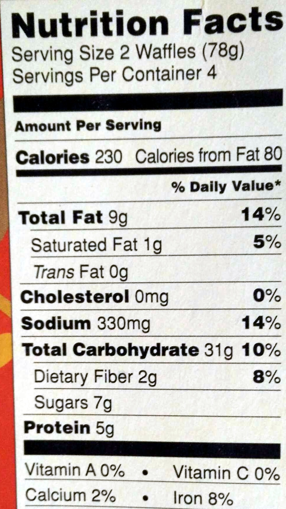 Multigrain Toaster Waffles - Nutrition facts