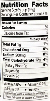 Steam Crisp Extra Sweet Niblets - Nutrition facts