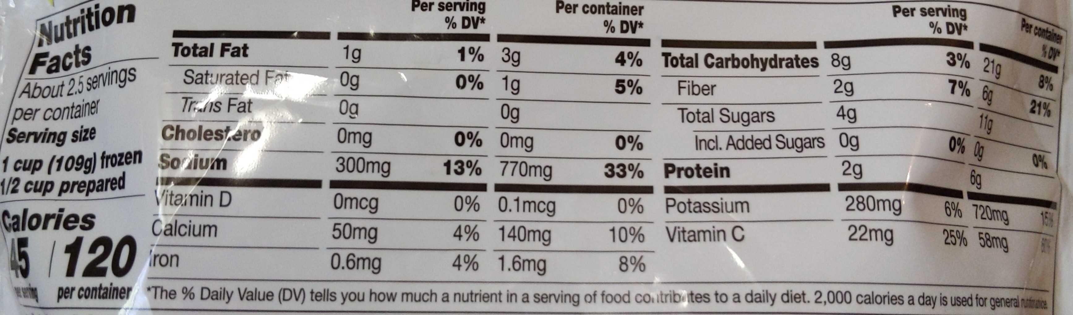Simply Steam Broccoli, Carrots, Cauliflower & Cheese Sauce - Nutrition facts - en