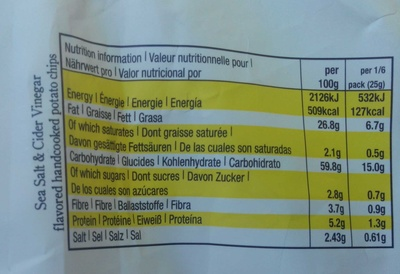 Hand Cooked Potato Chips - Informations nutritionnelles