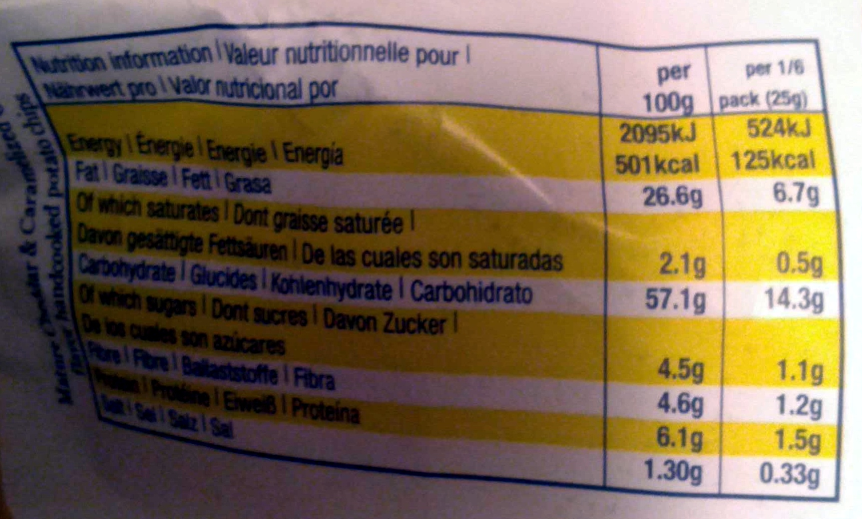 Hand Cooked Potato Chips Mature Cheddar & Caramelized Onion - Nutrition facts - fr
