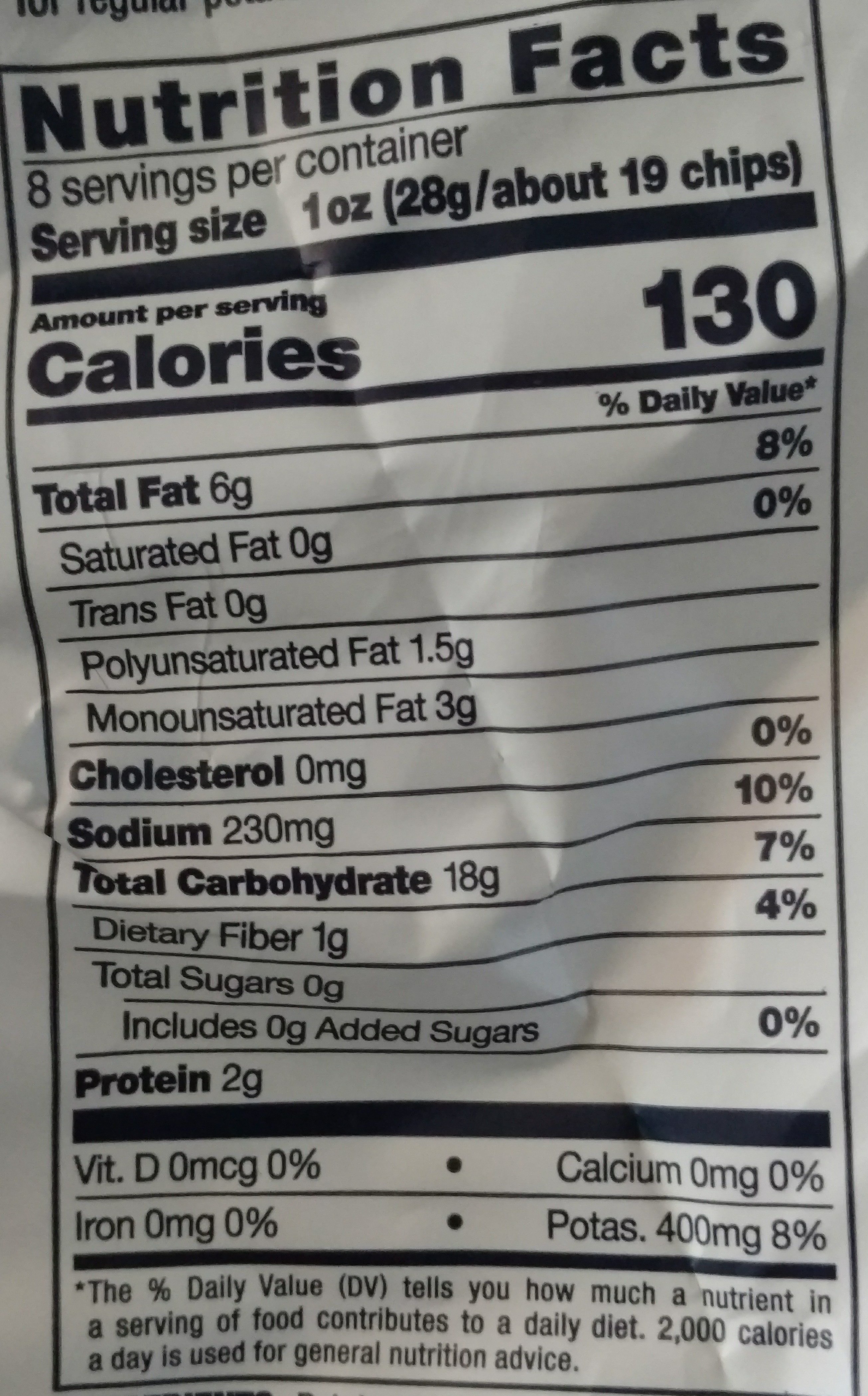 Kettle Cooked Potato Chips - Nutrition facts
