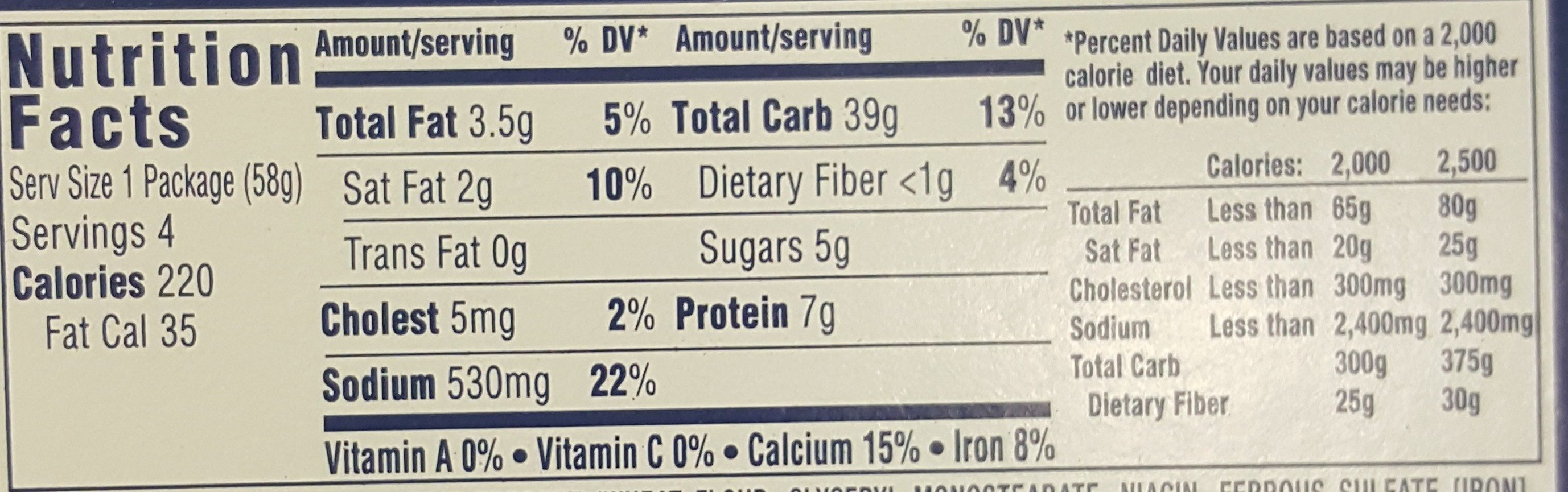 Kraft Macaroni & Cheese Dinner Cups Original Flavor - 4 CT - Nutrition facts