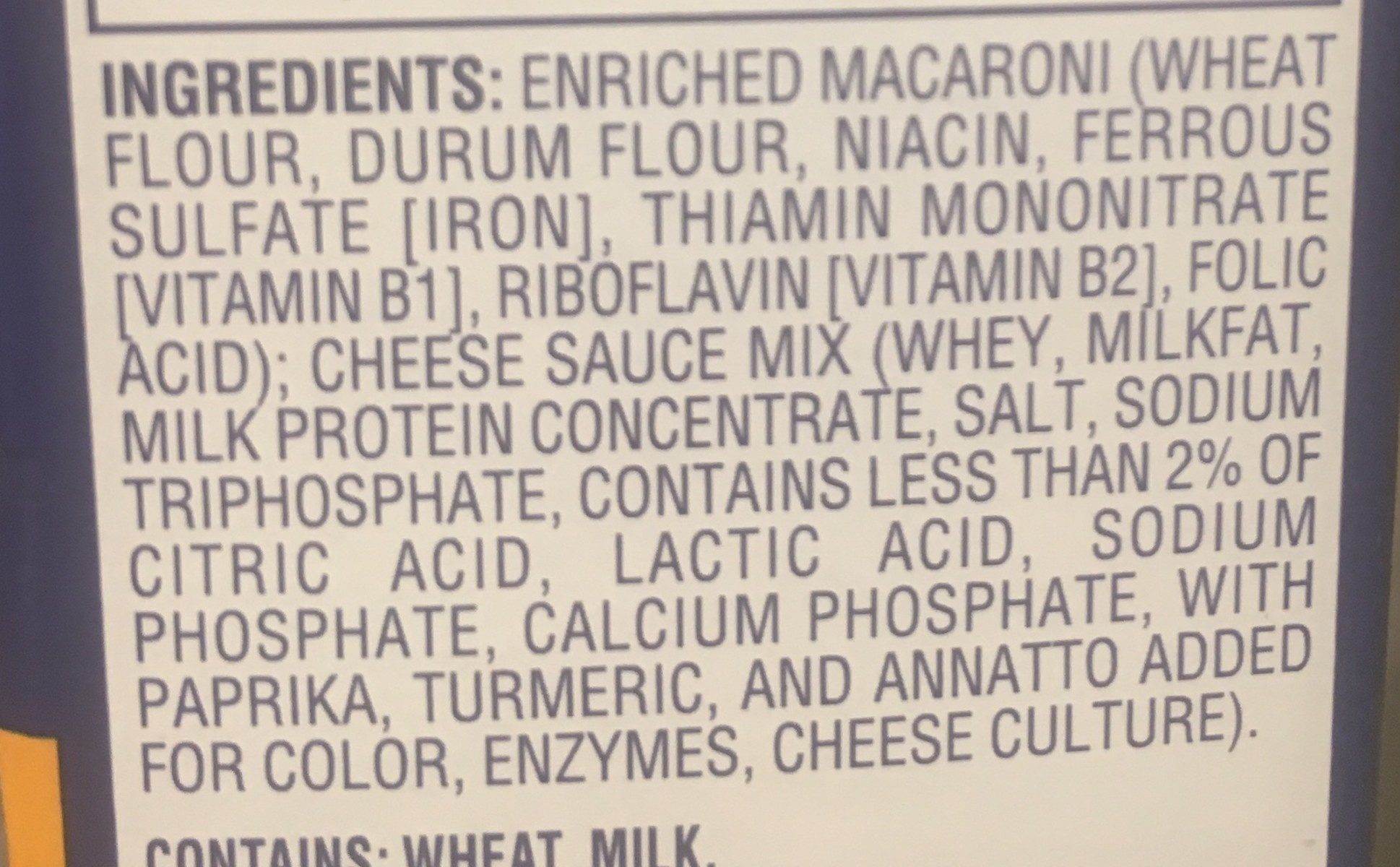 Kraft Original Flavor Macaroni & Cheese - Ingrédients