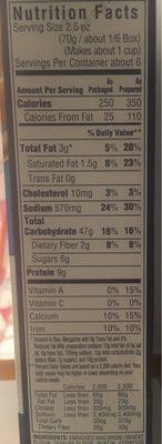 Kraft Original Flavor Macaroni & Cheese - Informations nutritionnelles