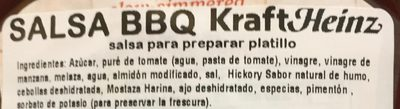Kraft barbecue sauce original - Ingredientes - es