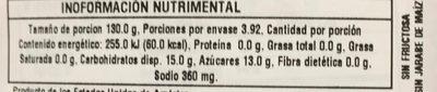 SALSA ORIGINAL BARBECUE - Informations nutritionnelles