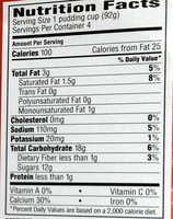 Snack Pack Pudding Vanilla - Nutrition facts