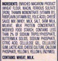 Kraft Macaroni & Cheese Dinner three cheese - Ingredients - en