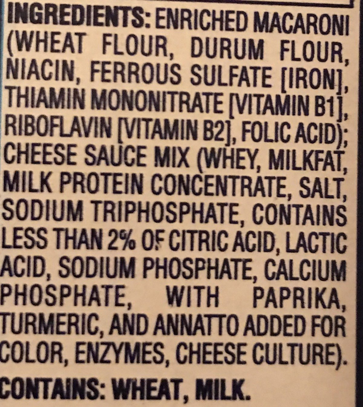 Macaroni & Cheese - Ingredients - en