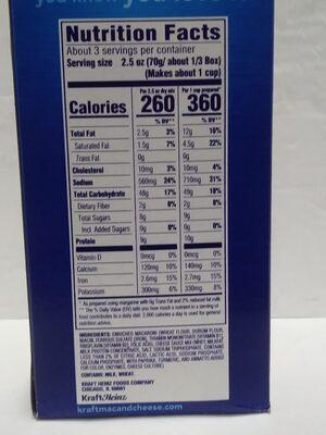 Macaroni & Cheese - Nutrition facts - en