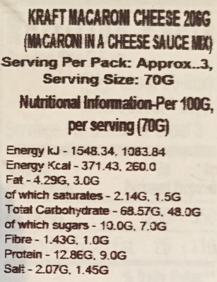 Macaroni & cheese - Nutrition facts