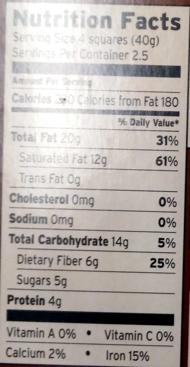 Dark chocolate 85% Cacao - Safeway Select - 3.5 oz (100 g)