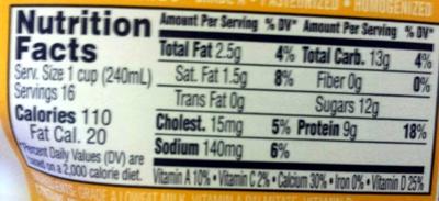 1% lowfat milk - Nutrition facts