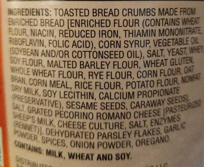 Italian style bread crumbs - Ingrédients - en