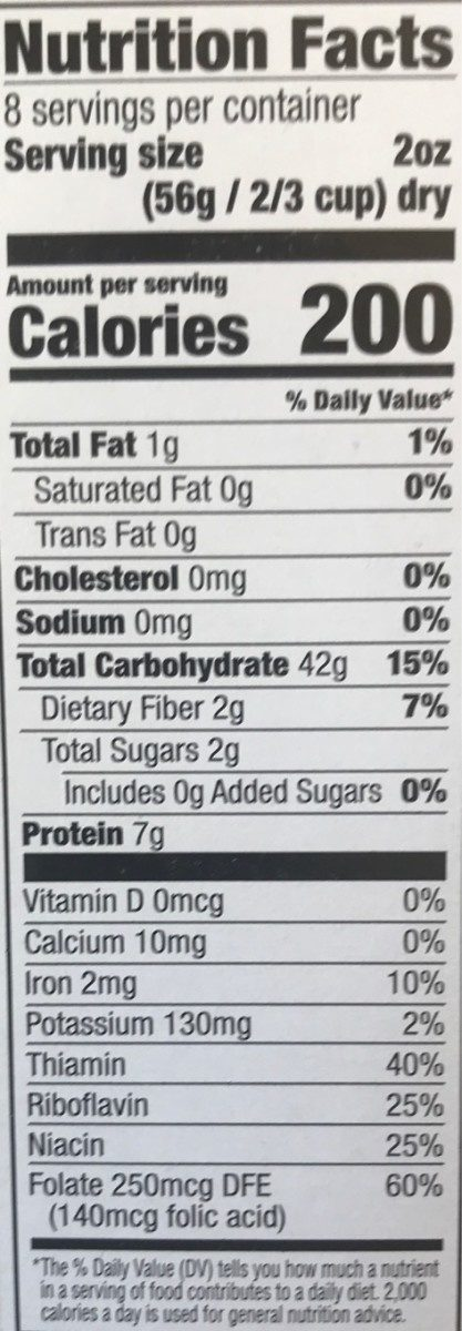 Small Shells - Nutrition facts
