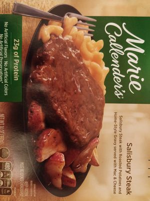 Salisbury steak with roasted potatoes and home-style gravy served with mac & cheese - Product - en