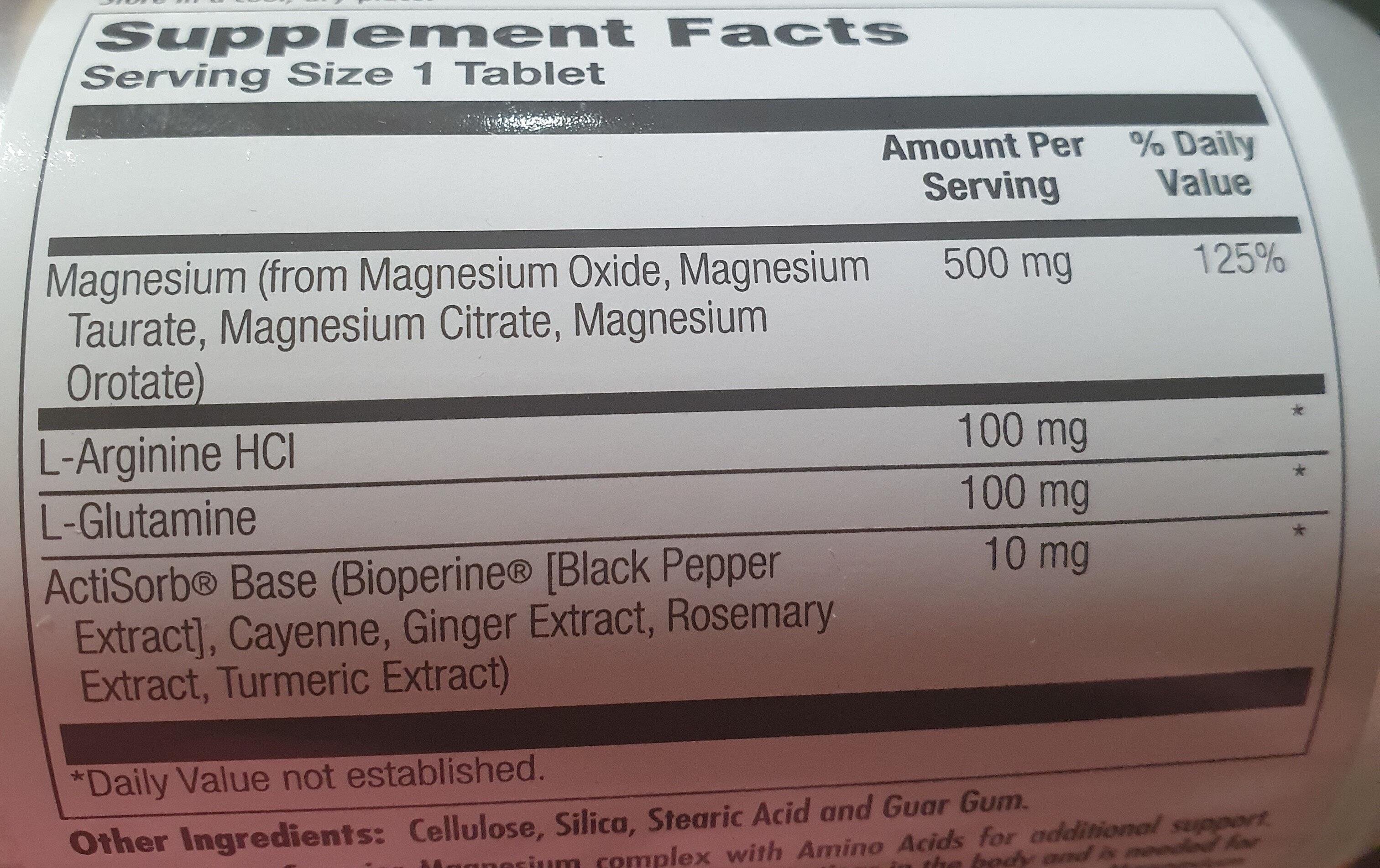 Magnesium 500mg - Ingrédients