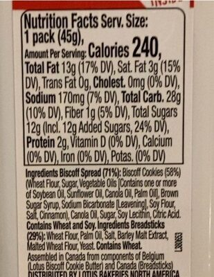 Lotus & go cookie butter and breadsticks - Nutrition facts - en