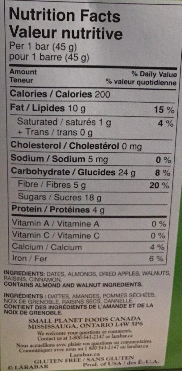 Apple - Informations nutritionnelles - fr