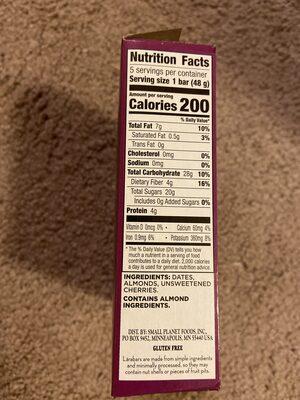 The original fruit & nut food bar - Nutrition facts - en