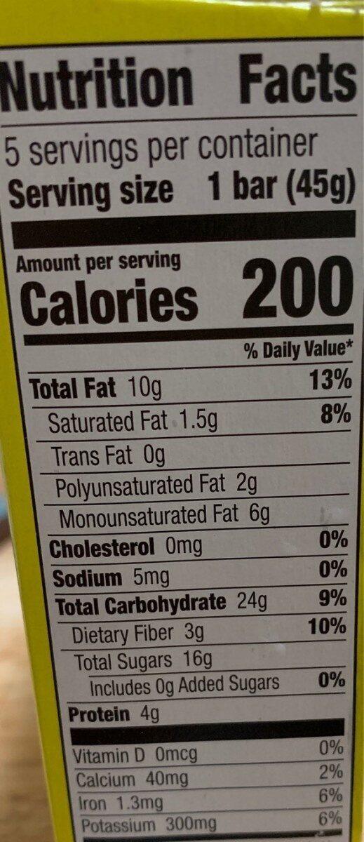 Lemon bar - Informations nutritionnelles