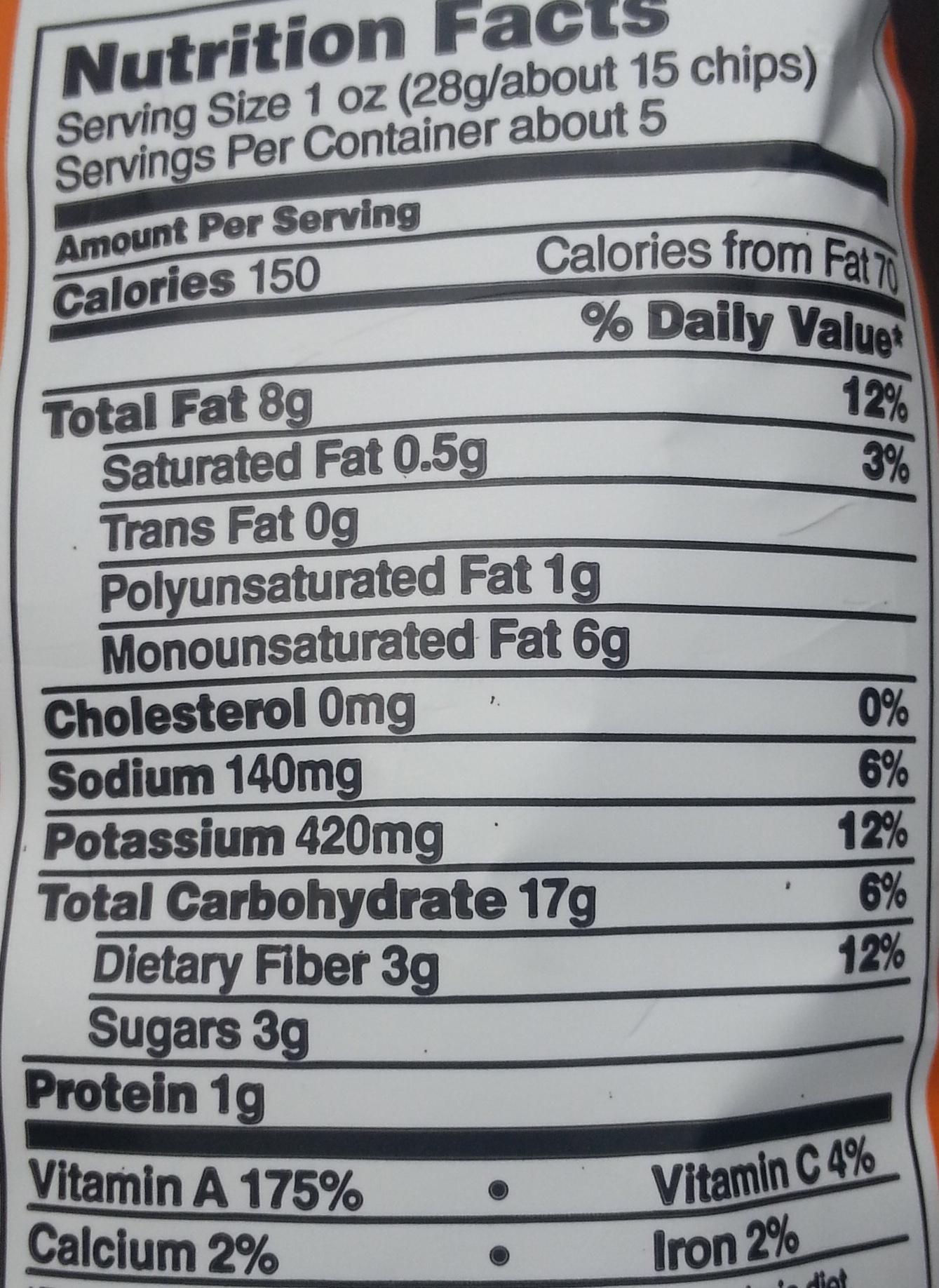 Original Sweet Potato Chips - Nutrition facts