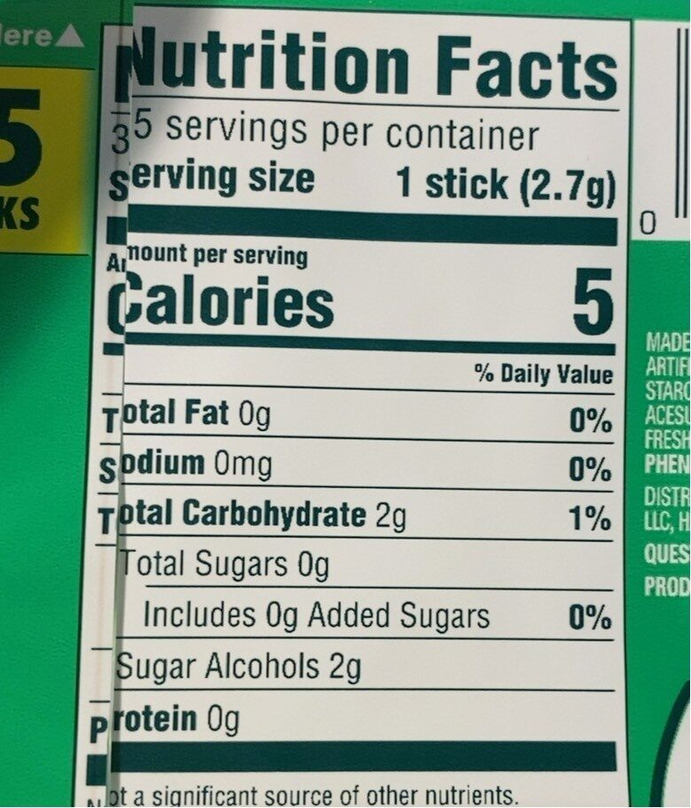 Spearmint sugarfree gum - Nutrition facts - fr