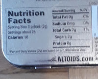 Altoids: Peppermint - Nutrition facts