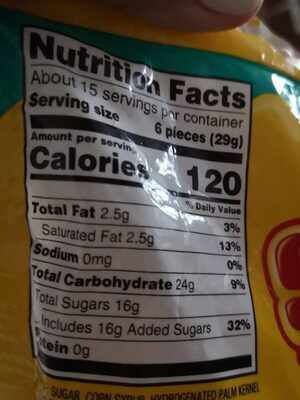 Tropical fruit chews - Nutrition facts