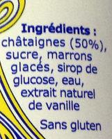 Crème de marrons de l'Ardèche - Ingrédients