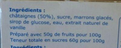 Crème de marrons - Ingrediënten