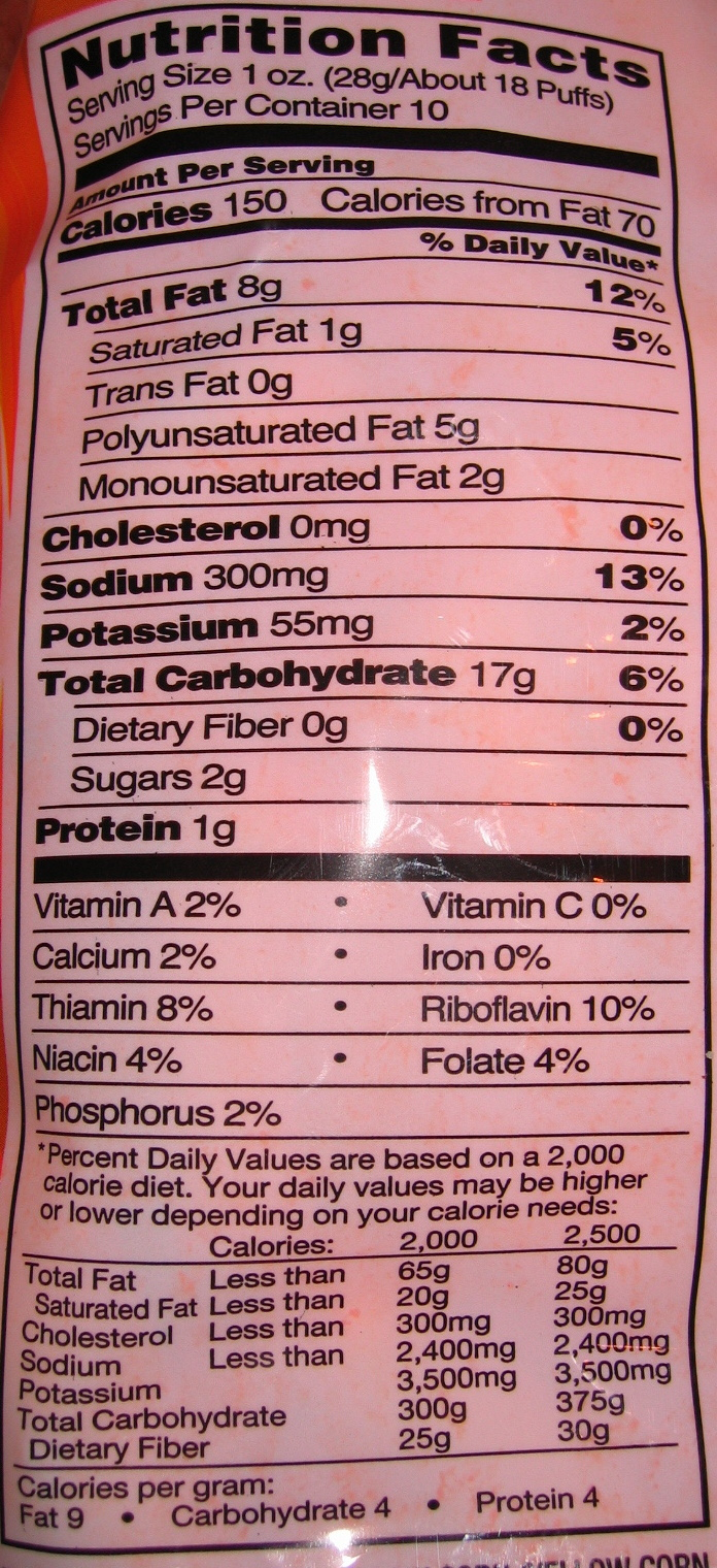 Cheese Puffs - Nutrition facts - en