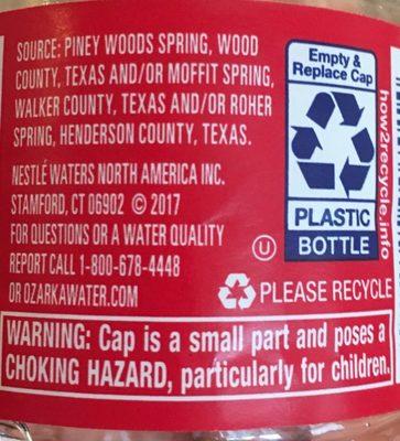 Nestle Water 101441 24PK .5L Ozarka Water .5 L(1PT, 0.9OZ) - Ingredients