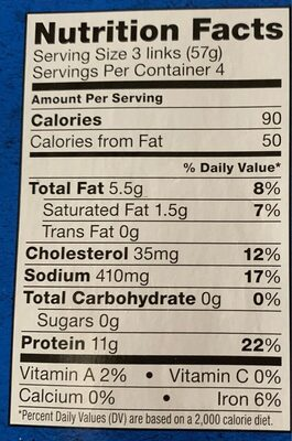Turkey breakfast sausage - Nutrition facts