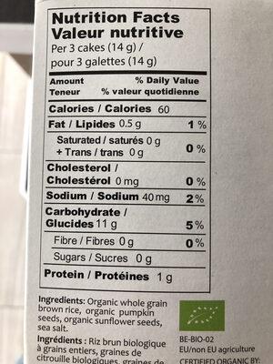Galettes minces de riz soufflé - Nutrition facts - en
