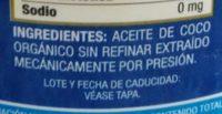 Aceite de Coco Orgánico - Ingrediënten - es