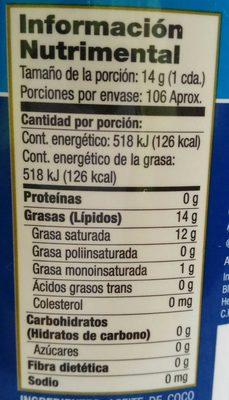 Aceite de Coco Orgánico - Voedingswaarden - es